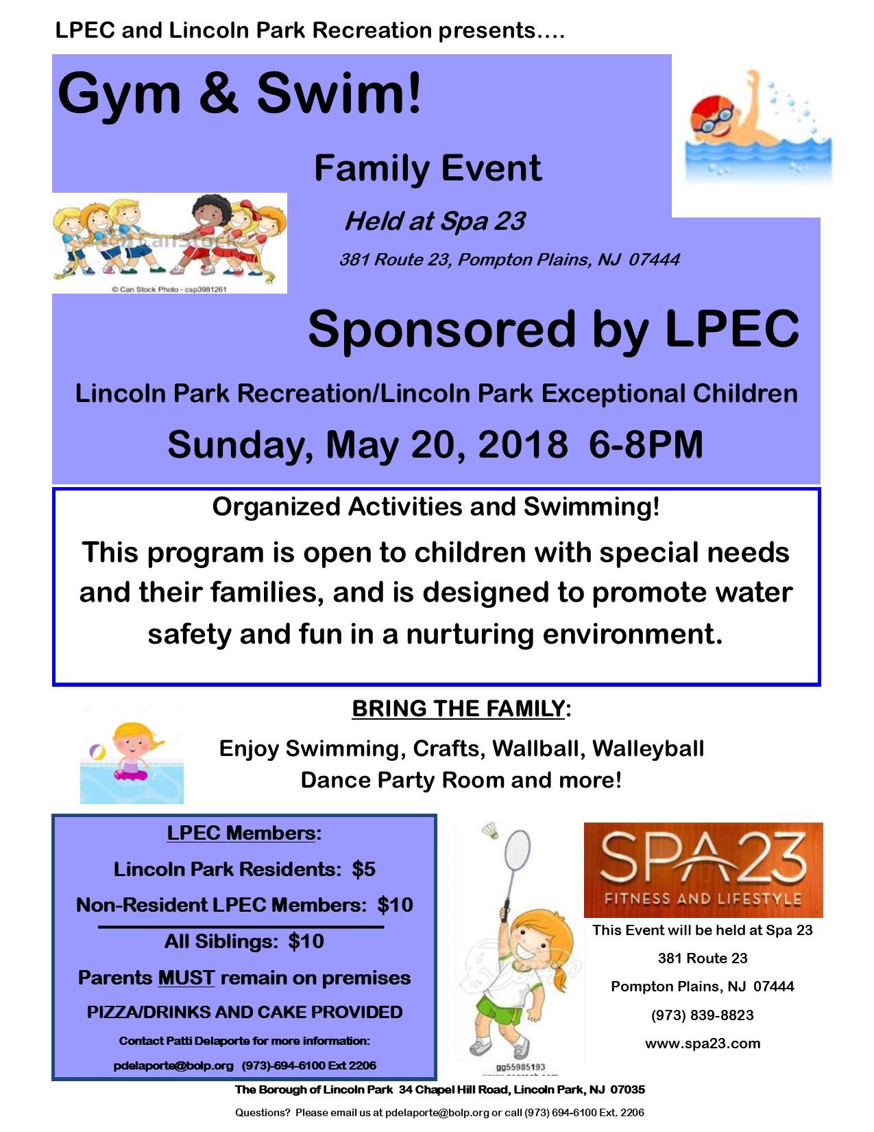 LPEC Gym and Swim May 20 2018
