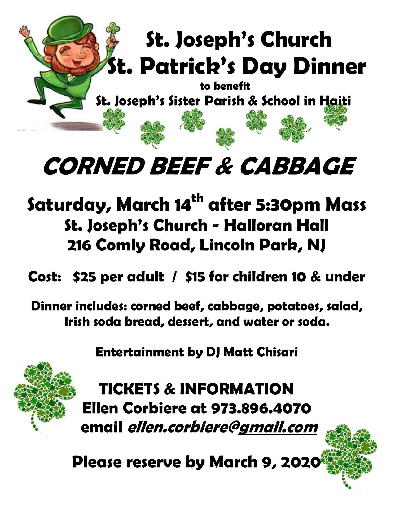 St Pats Dinner